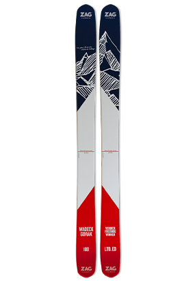 Skis Freeride ZAG SLAP 112 Edition Limitée Wadeck Gorak Bleu Blanc Rouge basse définition
